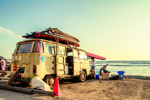 campervan parked next to beach