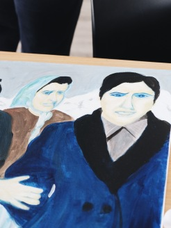 Sophie's first image she painted of a family in Greece.