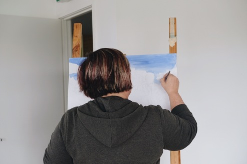 Sophie Evreniadis working on her latest piece.
